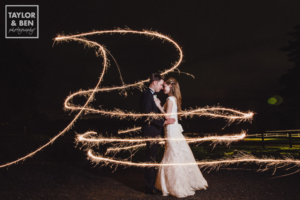 Sparklers Wedding Portrait